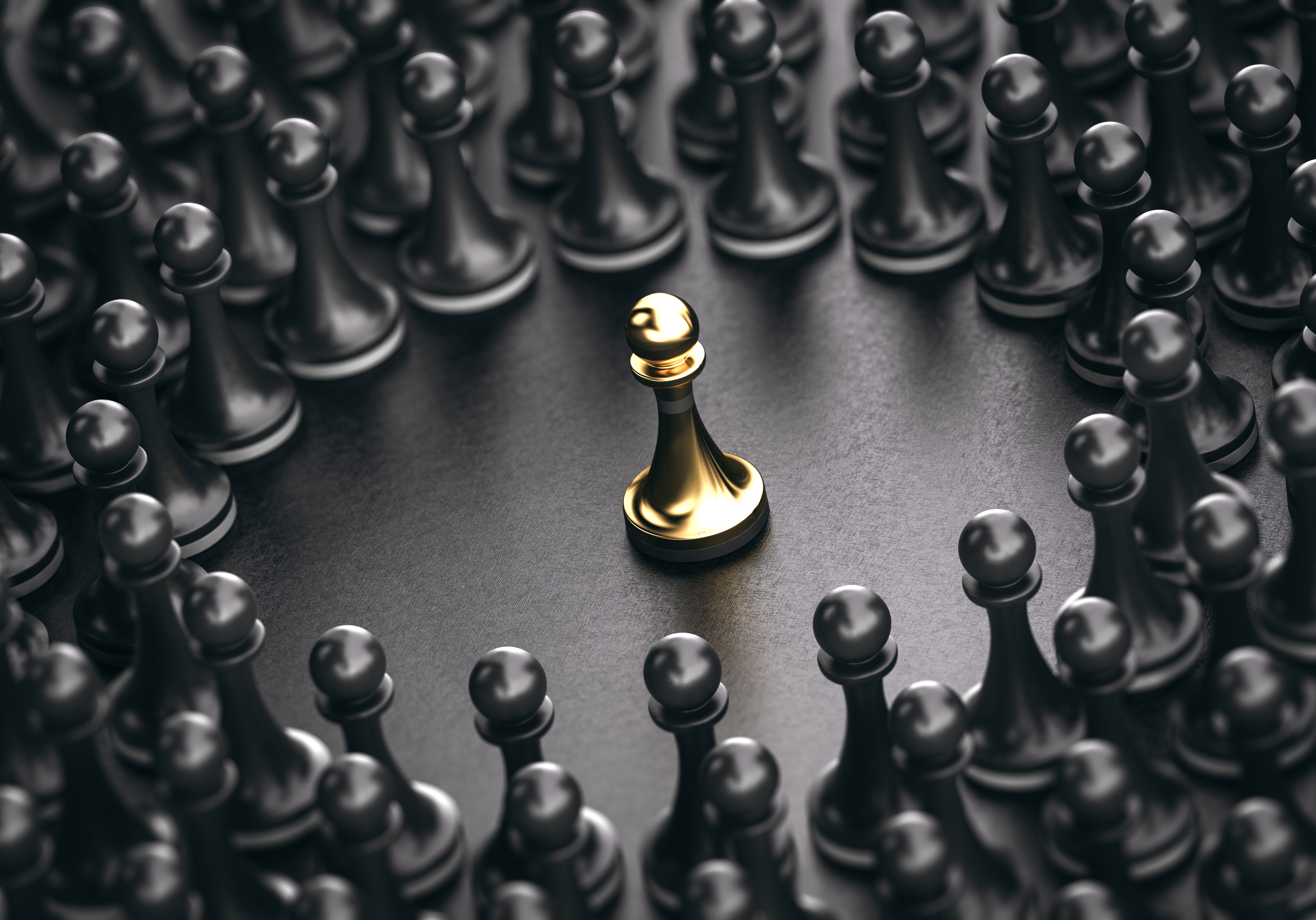 3D illustration of black pawns around a golden one standing out from the crowd. Concept of leadership